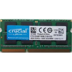 1x 4GB SODIMM DDR3L 1600 mhz PC3L-12800 2Rx8 CT51264BF160B MEMORIE RAM CRUCIAL